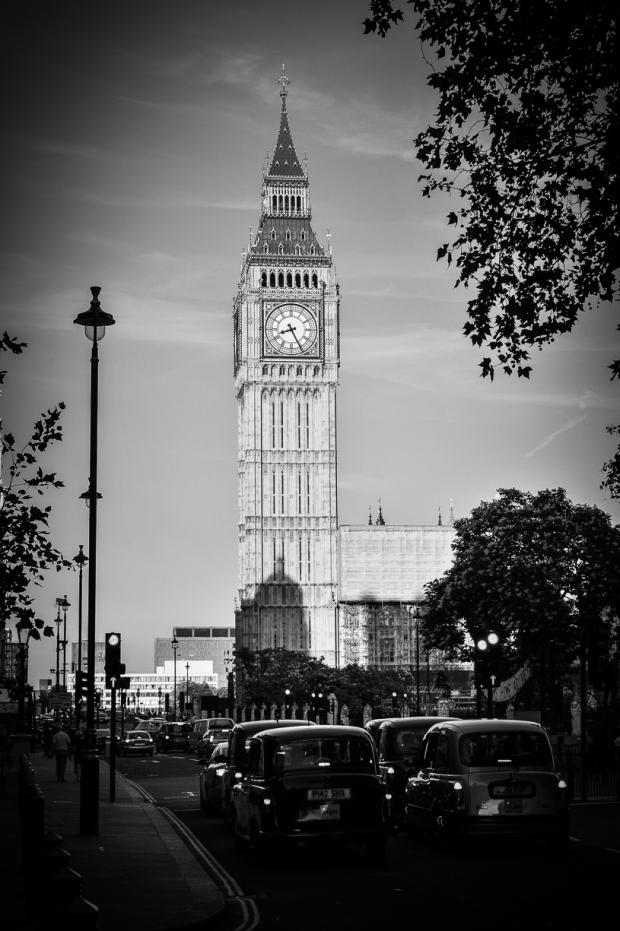 St Stephen's Tower, Big Ben, Black Cabs, London England