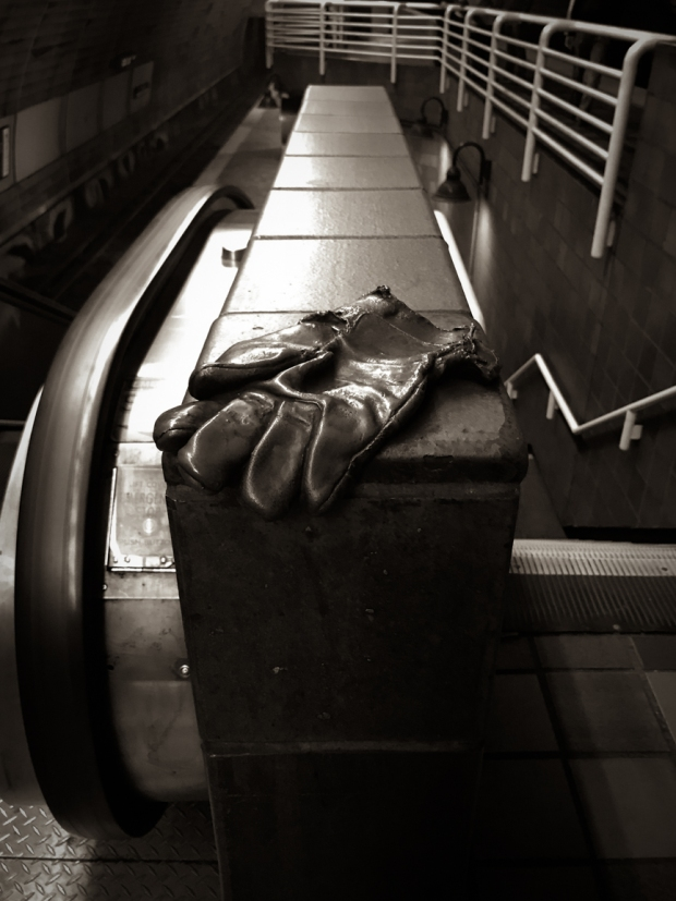 144.365.2018 Glove Cycle, by Mags Harries, located throughout the Massachusetts Bay Transportation Authority Porter subway and commuter rail station in Porter Square, Cambridge, Massachu